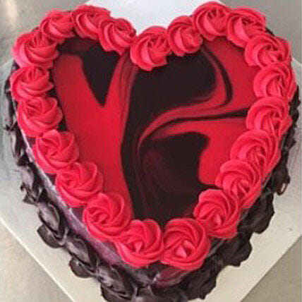 Heart Shaped Red Marble Cake Delivery In Australia