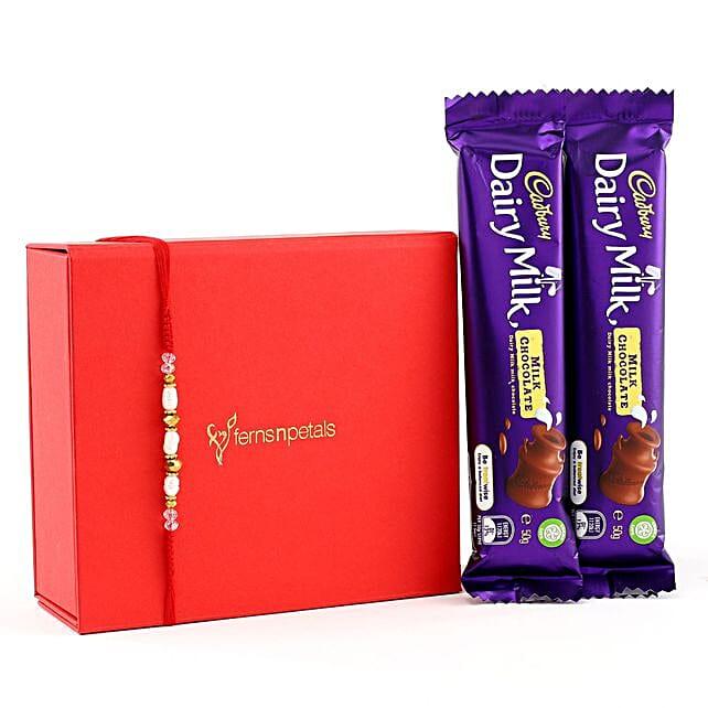 Rajaji Rakhi With Two Dairymilk Chocolates: Send Pearl Rakhi to Australia
