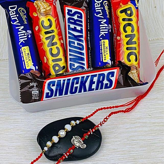 Two Rakhi With Six Mix Chocolates: Send Pearl Rakhi to Australia