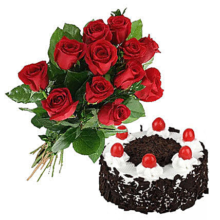 Black Forest Cake N Roses Birthday Gifts To Canada