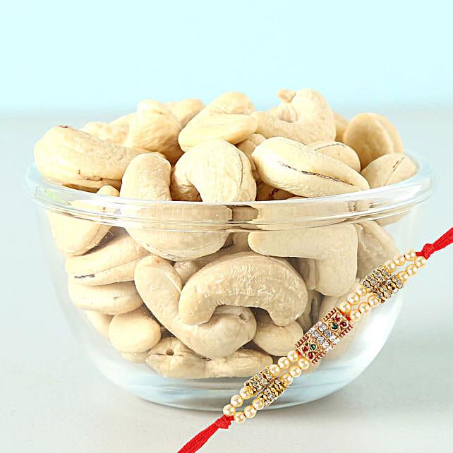 Cashews 100 Gms And Rakhi Combo: Send Pearl Rakhi to Canada