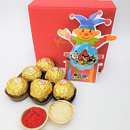Ferrero Rocher 6 Pieces And Rakhi Combo: Send Rakhi for Kids to Canada