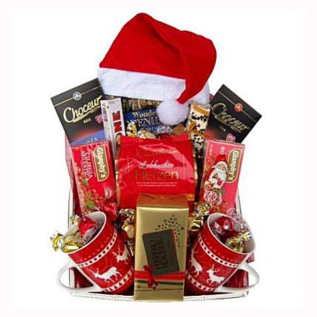 Santa Christmas Tea Basket: Corporate Hampers to France