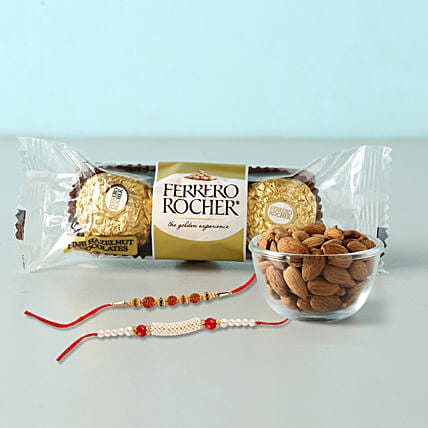 Rocher And almonds With 2 Designer Rakhis: Send Rakhi With Chocolates To Indonesia
