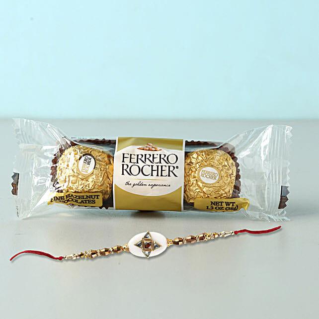 Stylish Rakhi And Rocher Combo: Send Rakhi With Chocolates To Indonesia