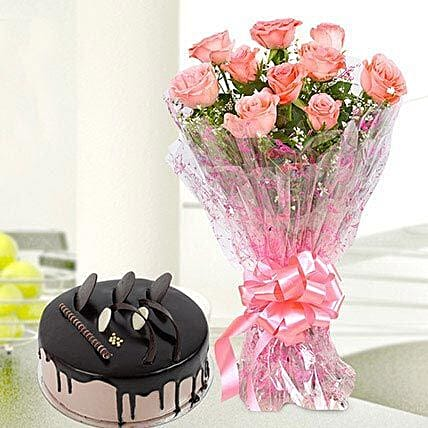 10 Pink Roses And Chocolate Cake Combo: Cakes for Birthday