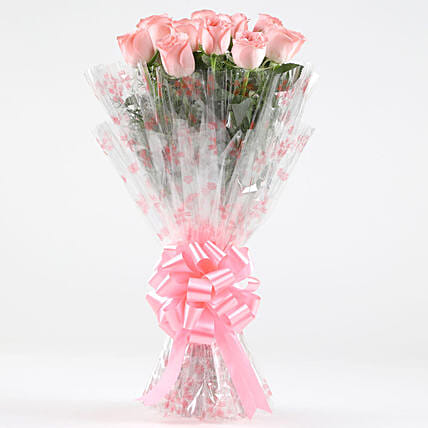 10 Charming Pink Roses Bouquet: Send Roses
