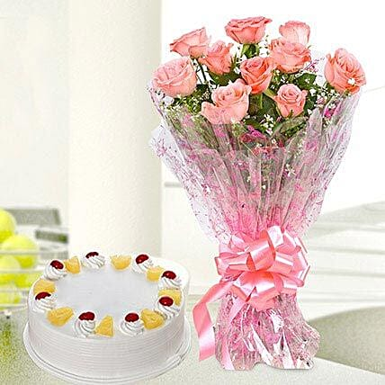 10 Pink Roses With Pineapple Cake: Flower Bouquet with Cake