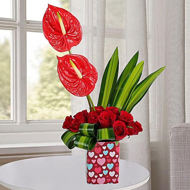 10 Red Roses Arrangement: Send Anthuriums