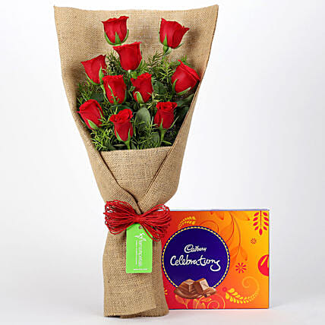 10 Red Roses & Cadbury Celebrations: Flowers with Chocolates
