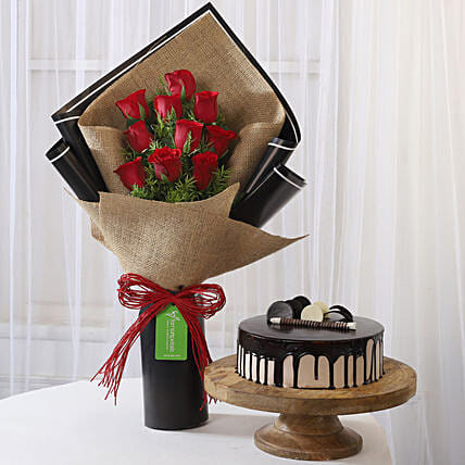 10 Red Roses & Choco Cream Cake Combo: Flower Bouquet with Cake