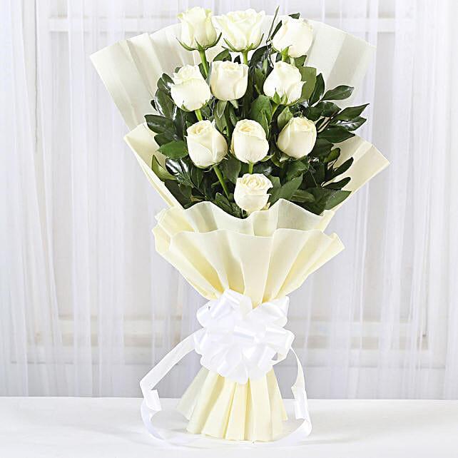 Pristine White Roses Bunch: Anniversary Bouquets