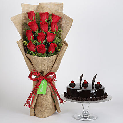 12 Layered Red Roses Bouquet & Truffle Cake: Cake Combos