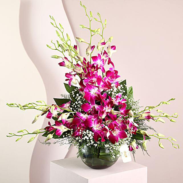 Purple Orchids Vase Arrangement: Fresh Flower Arrangement