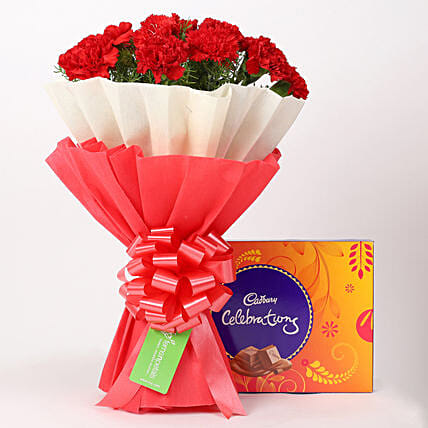 12 Red Carnations Bouquet & Cadbury Celebrations Box: Cadbury Chocolates