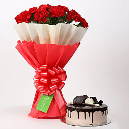 12 Red Carnations & Chocolate Cake Combo: Flowers N Cakes For Anniversary