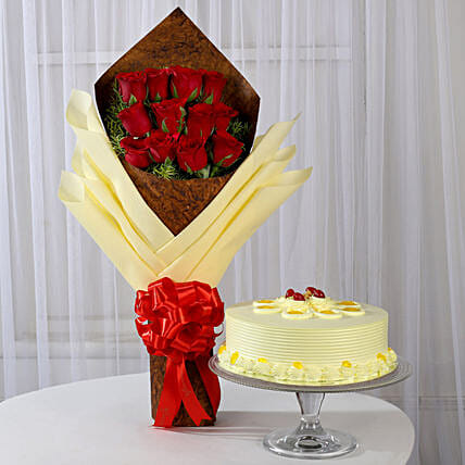 12 Red Roses Bouquet & Butterscotch Cake: Flower Bouquet with Cake