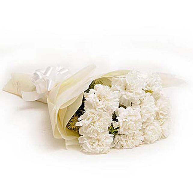 12 White Carnations: White Flowers