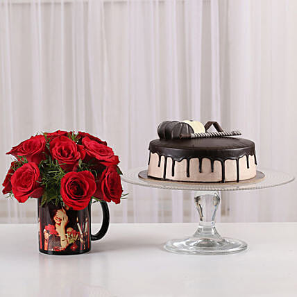 15 Red Roses Picture Mug & Chocolate Cake: Flowers N Personalised Gifts