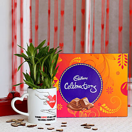 2 layer Lucky Bamboo Plant with Cadbury Celebrations: Personalised Pot plants
