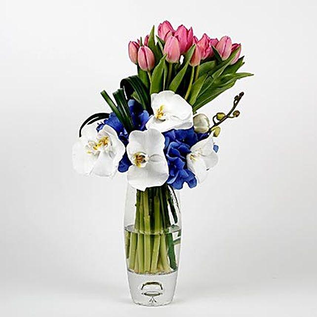 20 Unique Pink Tulips Hydrangeas Premium Glass Vase Arrangement: Tulips