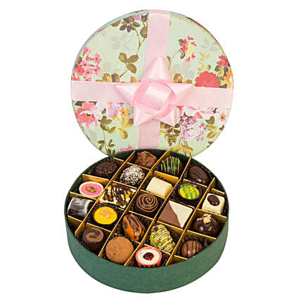Floral Box Of 21 Assorted Chocolates: Handmade Chocolates