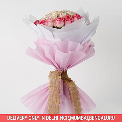 36 Graceful Pink Roses Bouquet: Exotic Flowers