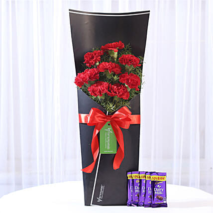 8 Red Carnations Bouquet & Dairy Milk Combo: Cadbury Chocolates