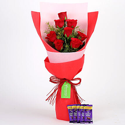 8 Red Roses with Dairy Milk Combo: Chocolate Combos