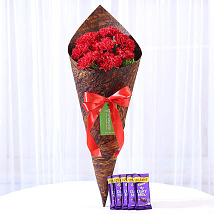 8 Vibrant Red Carnations & Dairy Milk Combo: Send Flowers and Chocolates