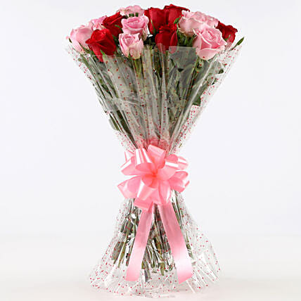 Appealing 18 Red & Pink Roses Bunch: Mixed Colour Flowers