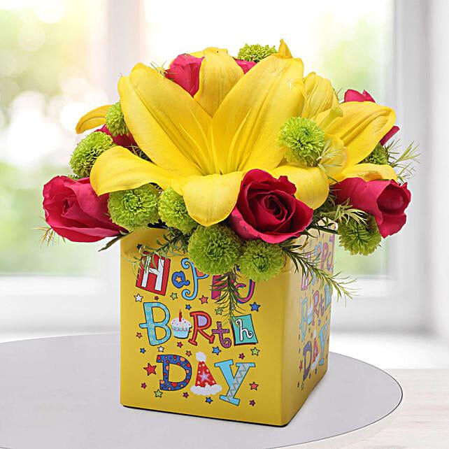 Asiatic Lilies Arrangement: Send Chrysanthemums