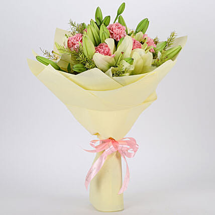 Asiatic Lilies & Carnations Mixed Bouquet: Premium Flowers