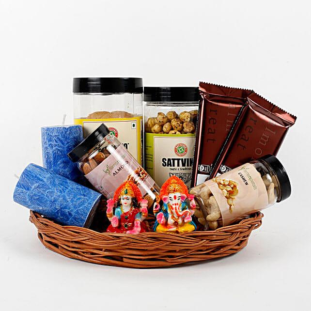 Assorted Diwali Goodies Cane Basket: Send Diwali Gift Baskets