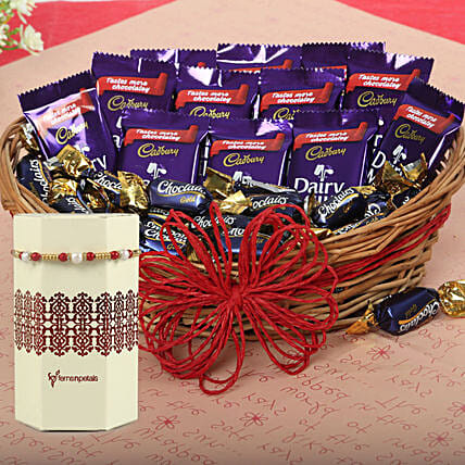 Basket Of Dairy Milk & Pearl Rakhi: