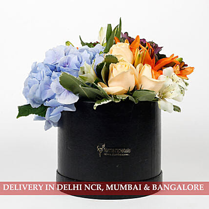 Beautiful Black Box of Mixed 9 Exotic Flowers: Flowers In box