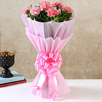 Beautiful Pink Carnations Bouquet Birthday Flowers For Girlfriend