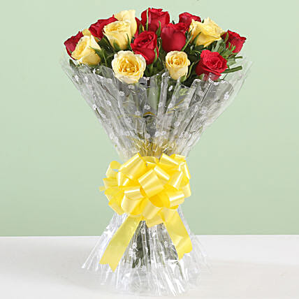Beautiful Yellow & Red Rose Bouquet: Mixed Colour Flowers