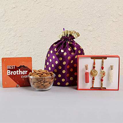 Best Brother Rakhi Combo With Almonds: