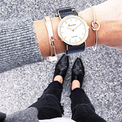 Black And Rosegold Bracelet Stack: Send Jewellery Gifts