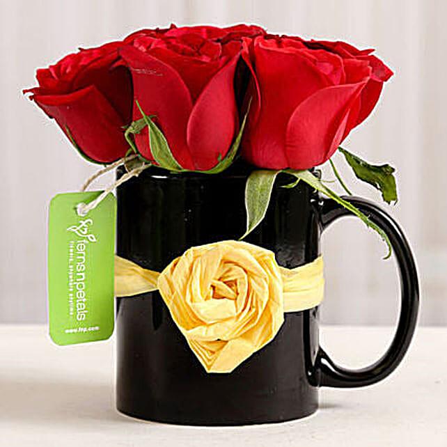 Black Mug of Red Roses: Send Roses