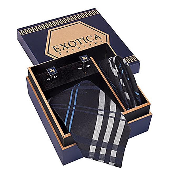 Blue N Grey Tie Set