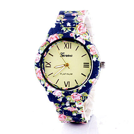 Blue N Pink Floral Watch For Women: Watches