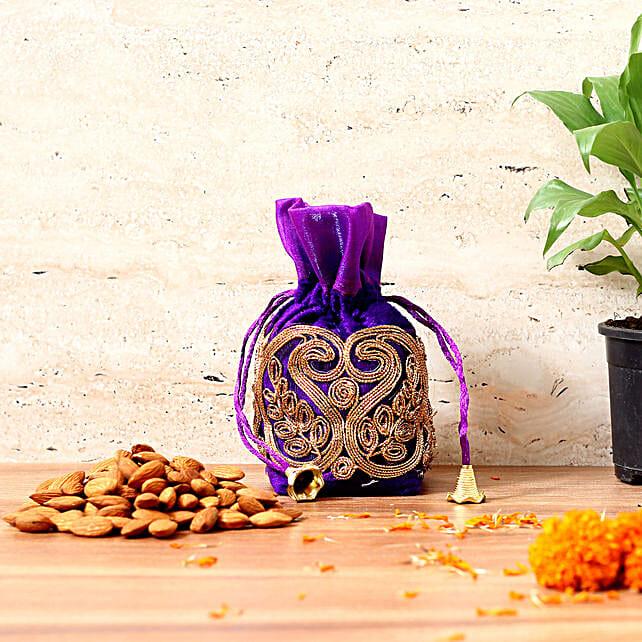 Blue Velvet Potli with Almonds 200 gms: Send Karwa Chauth Sargi