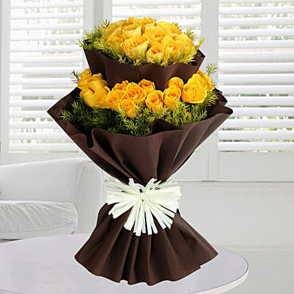 Bright Yellow Roses Bunch:
