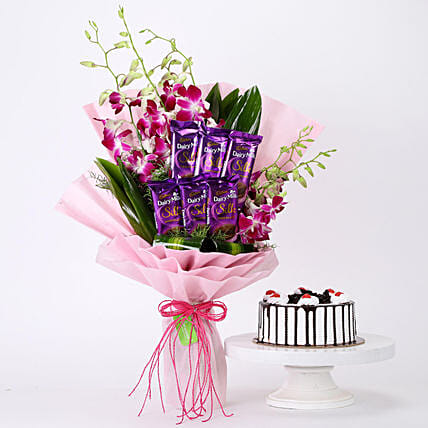 Bunch Of Orchids & Black Forest Cake Combo: Flowers N Cakes For Anniversary