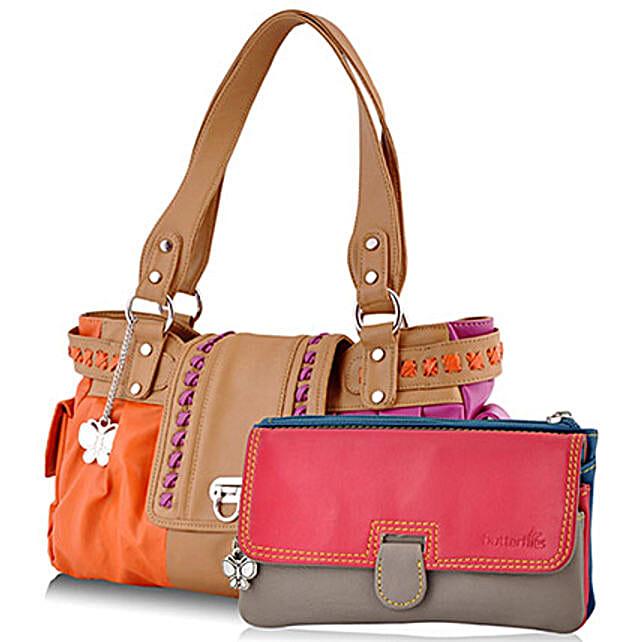 Butterflies Multicolor Handbag Combo: Fashion Accessories