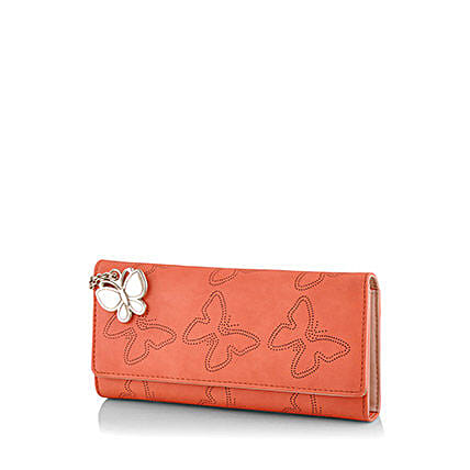 Butterflies Orange Wallet: Handbags and Wallets