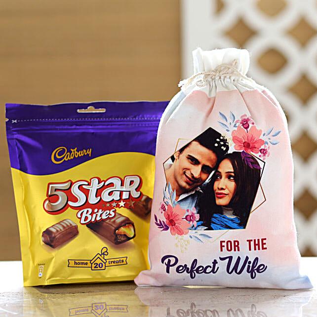 Cadbury 5 Star Pack & Personalised Gunny Bag For Wife: Cadbury Chocolates