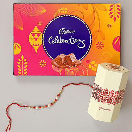 Cadbury Celebrations & Pearl Rakhi Combo: Rakhi With Cadbury Chocolates